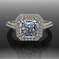 Forever Brilliant Moissanite and Diamond Halo Engagement Ring 2.31 CTW