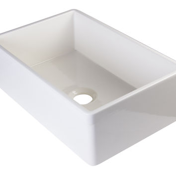 "ALFI brand AB511-B Biscuit 30"" Decorative Lip Single Bowl Fireclay Farmhouse Kitchen Sink"