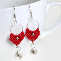 Red micro macrame earrings with silver aluminium wire, fashion earrings, boho wire jewelry with macrame elements