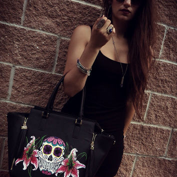 Hand Painted Faux Leather Sugar Skull and Stargazer Lily Purse