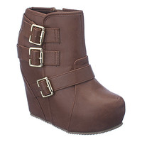 Shiekh Besso-S womens tan platform ankle wedge boot