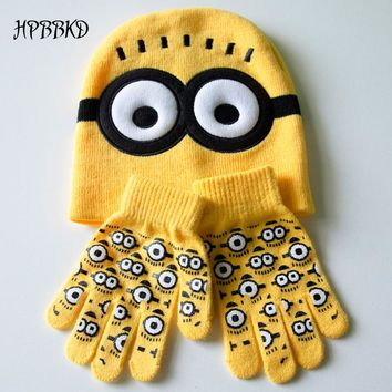 3pcs/set Baby Kids Winter Minions Gloves +Hat Set Fashion Brand New Warm Knitted Cartoon Caps Gloves Baby Boys Girls Hats GH153
