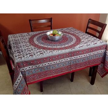Handmade 100% Cotton Paisley Mandala Tapestry Tablecloth Coverlet 87x90 Red Grey