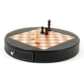 Wood with Black Leather Chess Set