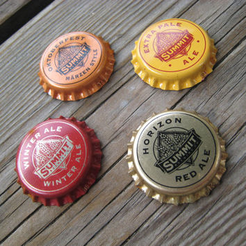 Autumn Bottlecap Magnets - Craft Beer Magnets - Man Cave Decorations - Beer Bottle Caps - Gifts for Guys - Minnesota Art - Fall Colors