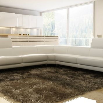 Contemporary White Italian Leather Sectional Sofa