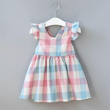 Cute Baby Girls Short Sleeve Dress Summer Newborn Baby Girl Plaid Cotton Dress Kids Checks Party Formal Dresses Fashion Vestidos