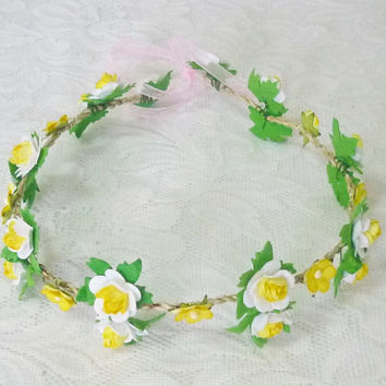 Yellow white rose flower crown Tie back Garland woodland Flower crown paper Flower headband/ flower hair vine