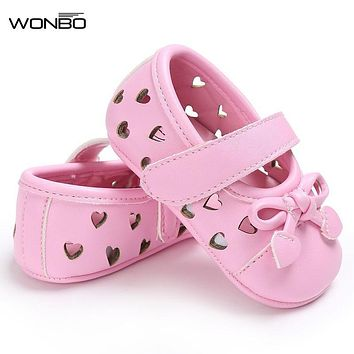 WONBO Newborn Summer Mary Jane Bow Heart-Shaped Hollow Out Soft Soled Girls Shoes Anti-Slip PU Leather First Walker