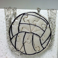 Volley Ball Puzzle Necklace Set of 8 by GirlwithaFrogTattoo