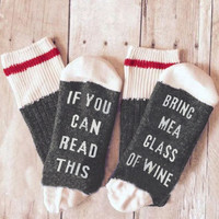 PLEASE BRING ME WINE Socks - Bellelily