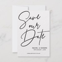 Elegant Typography Black White Save The Date Card