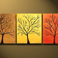 Abstract Modern Tree Art Painting 48x20 Original Modern by OritArt