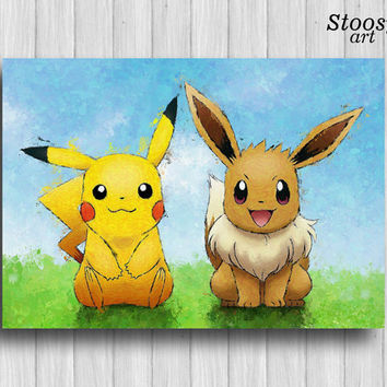 pikachu and eevee print pokemon poster anime print manga art