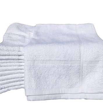 "Bath Mats New White Cotton Economy (18""x24"")  5.25 lb/dz Light Weight Fast Drying"