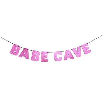 Babe Cave Glitter Banner in Sparkling Pink