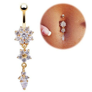 New Women Crystal Bar Belly Ring Gold Body Piercing Button Navel Flower Snow Trendy + Gift Box