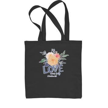 Love Never Fails Corinthians Bible Quote Shopping Tote Bag