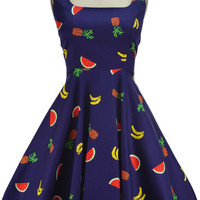 two scoops pinup sun dress - fruit bowl print | le bomb shop