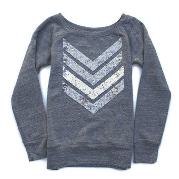 Sequin Chevron Sweatshirt Jumper - Gunmetal and Silver Sequin Chevron Patch Jumper 1D Liam Payne Tattoo