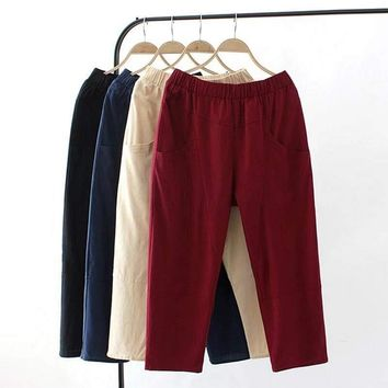 F71 Summer Casual Women Capri pants XL Plus Size Clothes Fashion Stretch Cotton Linen Loose Two pockets Calf-length Pants 003