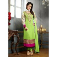 Hina Khan Georgette Thread & Border Work Green & Pink Semi Stitched Straight Suit - 84
