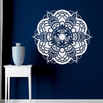 Mandala Wall Decal Yoga Studio Vinyl Sticker Lotus Flower Ornament Moroccan Pattern Namaste Meditation Boho Bohemian Bedroom A82