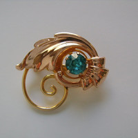 VAN DELL 1/20 12KT G.F. Stunning Rose & Yellow Gold Filled With Round Cut Blue Aquamarine Crystal Leaf Design Combination Brooch Pin Pendant