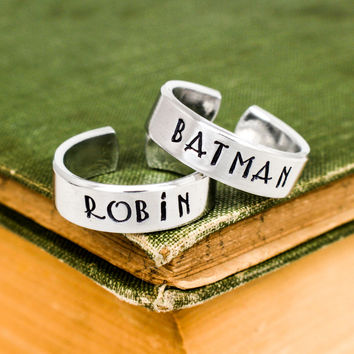 Batman and Robin Ring Set - Best Friends - Couples Ring Set Style B