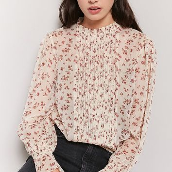 Sheer Floral Pintucked Top