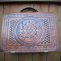 aztec briefcase. large distressed messenger. tribal inspired bag.large leather satchel.lawyers bag.southwestern briefcase.distressed satchel