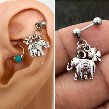 316L Surgical Stainless Solid Steel Elephant & lucky clover 18g, 16g, 14g Helix, cartilage, tragus earring