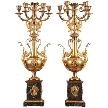 Pair of Late 18th Century Gilt Bronze and Marble Candelabra