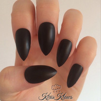 Matte or gloss black nails quality press on false nails
