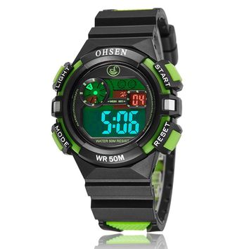 OHSEN brand Fashion and Causal digital Kids Boys sport wristwatches silicone LCD watch 30M waterproof alarm date gift