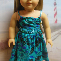 "American girl doll clothes ""Barefoot on the Beach""  ensemble (18 inch) summer outfit sundress tropical batik blue sequined"