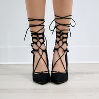 Mama Mia Pointed Toe Lace Up Cutout Lattice Pump