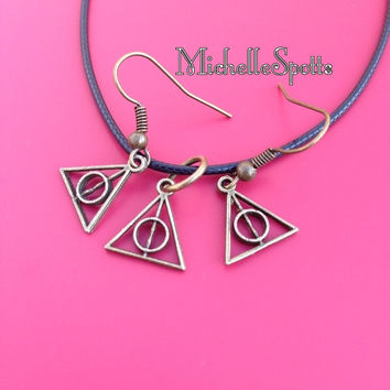 On Sale! Harry Potter inspired Necklace & Earrings Set The Deathly Hallows necklace Triangle Leather necklaces
