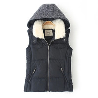 Black Fur Hooded Zipper Down Vest