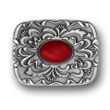 Sports Accessories - Red Stone with Western Scroll Rhinestone Belt Buckle