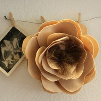 Natural fabric flower hair comb