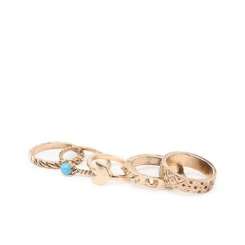 With Love From CA Chevron and Stone Midi Ring Set - Womens Jewelry - Antique Gold - One