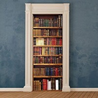 STICKER for door, wall, fridge - Books, bookcase mural decole wrap skin cover