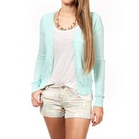 Mint Long Sleeve Button Front Cardigan