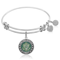 Expandable Bangle in White Tone Brass with Enamel U.S. Army Symbol