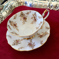 Thistle Antique Teacup, Vintage Tea Cup, Gold, Queen Anne 1960's, Antique China