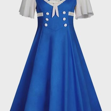 Blue Buttons Pleated Bow Big Swing V-neck Party Midi Dress
