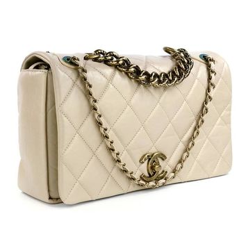 2000s Chanel Taupe Quilted Leather Handbag