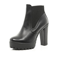 River Island Womens Black leather cleated sole Chelsea boot