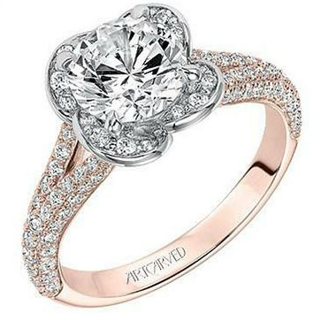 "Artcarved ""Katalina"" Flower Halo Pave Split Shank Diamond Engagement Ring"